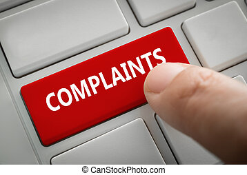 complaints button on computer Keyboard - Close view of male ...