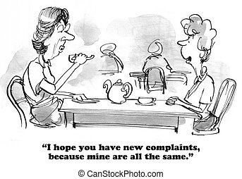 Complaints - Cartoon of two friends chatting.