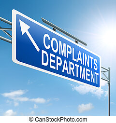 Complaints department. - Illustration depicting a roadsign...