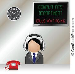 complaints department - Man in customer complaints...