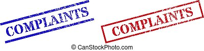Grunge COMPLAINTS stamp seals in red and blue colors. Stamps have rubber style. Vector rubber imitations with COMPLAINTS label inside rectangle frame, or parallel lines.