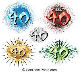 compleanno, 40th, o, anniversario