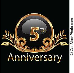 compleanno, anni, anniversario, 5