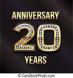 compleanno, anniversario, 20, felice