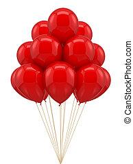 compleanno, ballon, festa, rosso