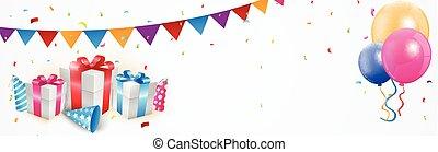 compleanno, bandiera, celebrazione