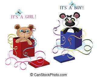compleanno, cartoline, con, orsi