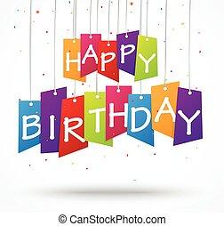 compleanno, celebrazione, fondo, etichetta