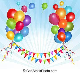 compleanno, cornice spaziale, text., illustrazione, composizione, vettore, palloni, tuo