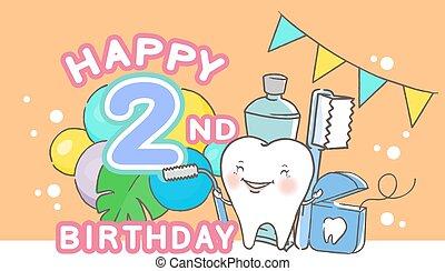 compleanno, dente, felice
