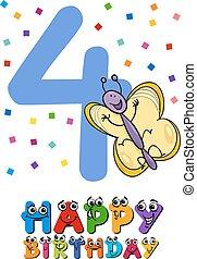 compleanno, disegno, cartone animato, scheda, quarto