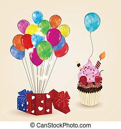 compleanno, disegno, elementi
