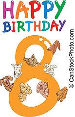 compleanno, disegno, ottavo, anniversario