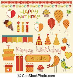 compleanno, disegno, retro, elementi, celebrazione