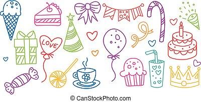 compleanno, elementi, set, illustrazione, mano, simboli, vettore, disegnato, festa