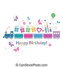 compleanno, felice, scheda, treno