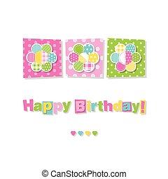 compleanno, fiori, tre, scheda, felice