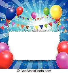 compleanno, fondo, ballon