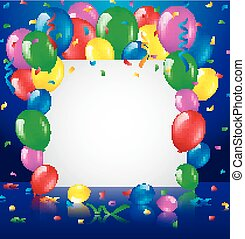 compleanno, fondo, con, palloni
