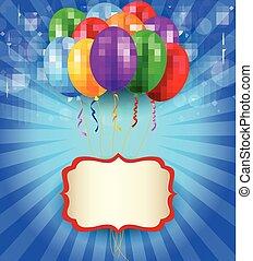 compleanno, fondo, con, segno bianco