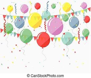 compleanno, fondo, con, volare, bal