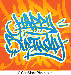 compleanno, graffito, felice
