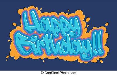 compleanno, graffito, scheda, felice