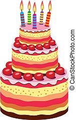 compleanno, grande, vettore, torta