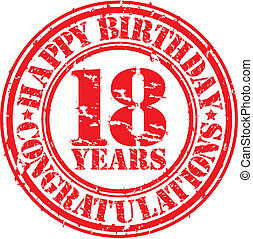 compleanno, grunge, 18, francobollo, illustrazione, anni, gomma, vettore, felice