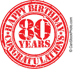 compleanno, grunge, francobollo, illustrazione, anni, gomma, vettore, 80, felice