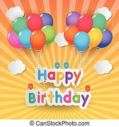 compleanno, palloni, felice