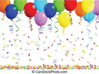 compleanno, palloni, fondo, felice