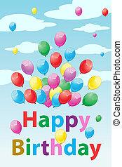 compleanno, palloni, scheda