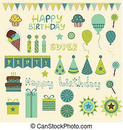 compleanno, retro, elementi, celebrazione