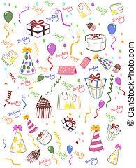 compleanno, seamless, fondo, felice