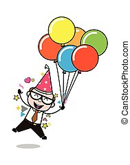 compleanno, vecchio, padre, -, illustrazione, capo, vettore, retro, festa, godere, cartone animato