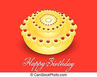 compleanno, vettore, torta, astratto