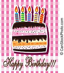 compleanno, vettore, torta, candele