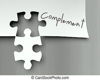 complemento, pezzi, puzzle, adattamento