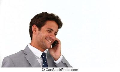 complet, appel téléphonique, homme affaires, confection