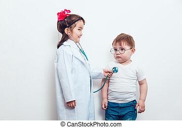 complet, docteur,  patient, enfant