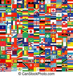 complet, ensemble, de, drapeaux