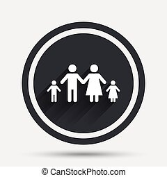 complet, famille, deux, signe, icon., enfants