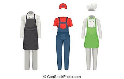complet, habillement, collection, set., usure, occupation, différent, fonctionnement, vecteur, uniforme