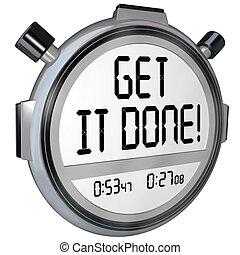 complet, obtenir, il, minuteur, projet, fait, mots, chronomètre, but