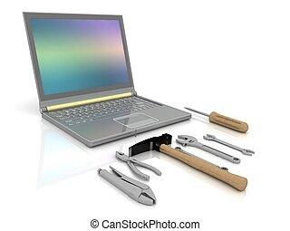 complet, outils, ensemble, réparation, ordinateur portable