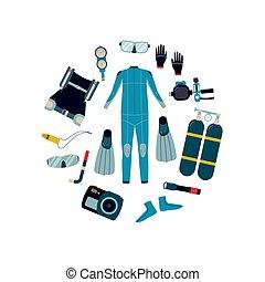 complet, plongée, watersports, vecteur, illustration, ...
