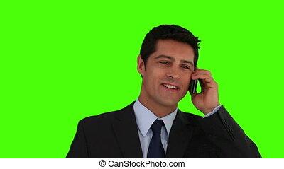 complet, regarder, appareil photo, homme affaires, jeune