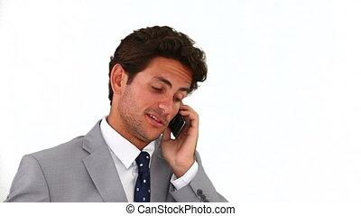 complet, téléphone, gris, conversation, homme affaires