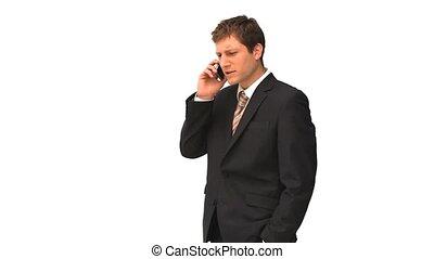 complet, téléphone, homme affaires, parler, jeune